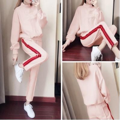 11 流行款 M-3XL 休閒高領加絨衛衣+運動褲 套裝(2色)