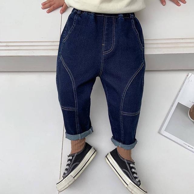 KD109-10 韓版拼接牛仔長褲