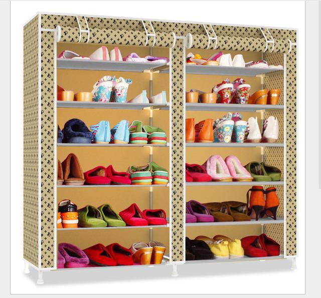 雙排簡易鞋櫃 防塵鞋櫥 收納架 雙排大容量鞋櫃 簡易鞋架 拖鞋架