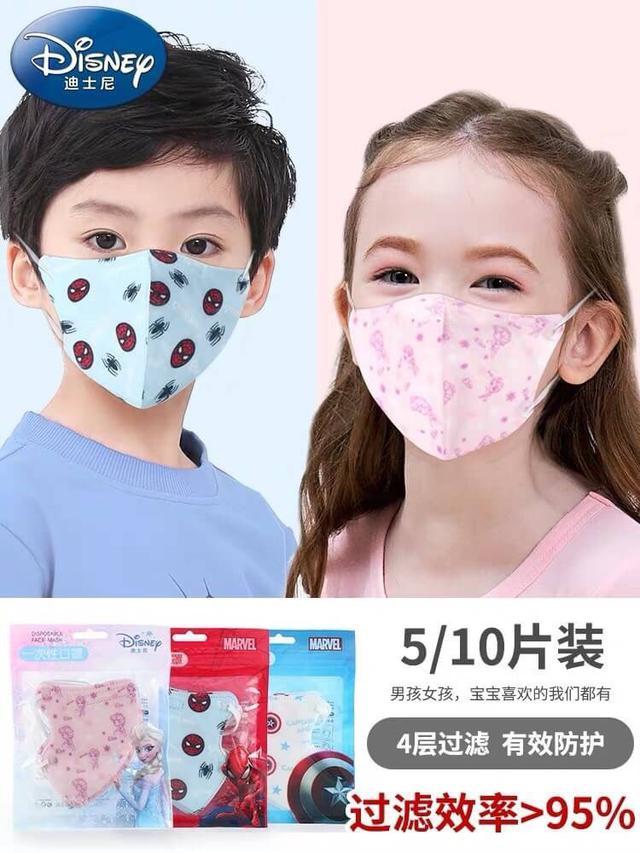 大陸代購—迪士尼漫威聯名4層防護兒童口罩(3-8歲使用)5片入
