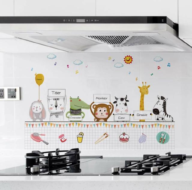 (預購s+) A004-新款卡通動物廚房防油貼(一組4款)