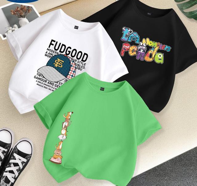 夏季兒童纯棉潮牌夏装中大童短袖t恤半袖衣服