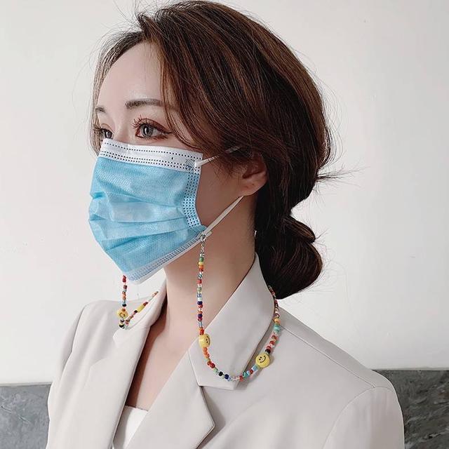 #新品韓版ins彩色鏈條笑臉口罩鍊子眼鏡鏈掛繩少女兒童防丟項鍊串珠