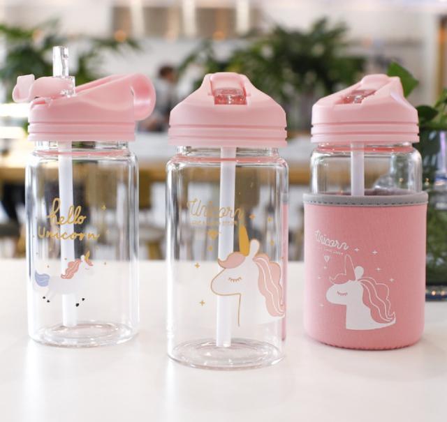 (4入)(圖案隨機)380ML吸管玻璃水杯+杯套