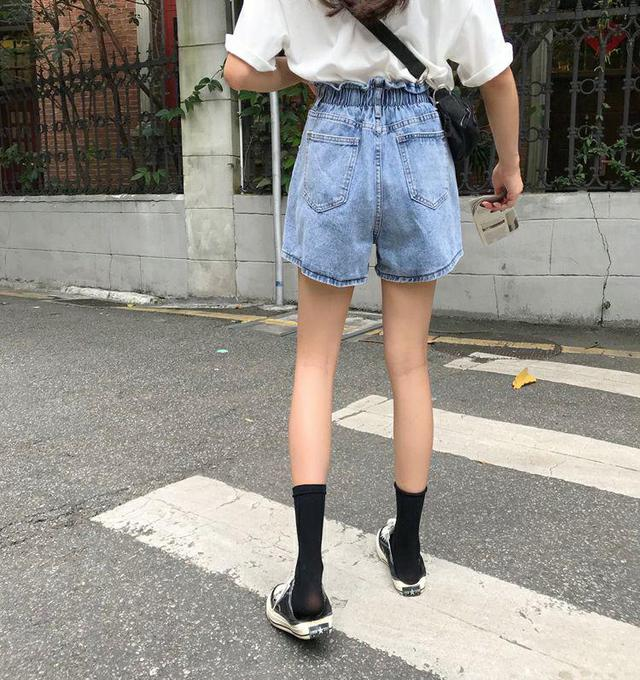 高腰牛仔寬褲短褲