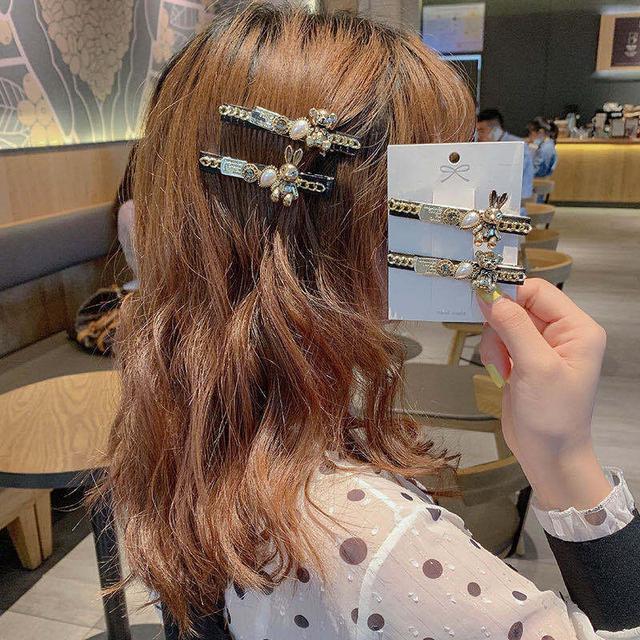 小香風鏈條~韓版簡約氣質夾子頭飾ins網紅丸子頭髮夾後腦勺碎發夾