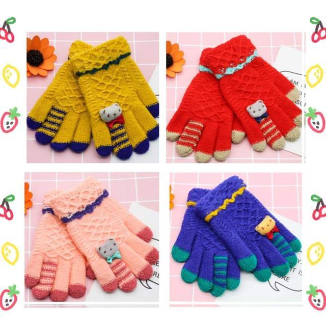(預購S) 兒童立體小熊保暖針織手套