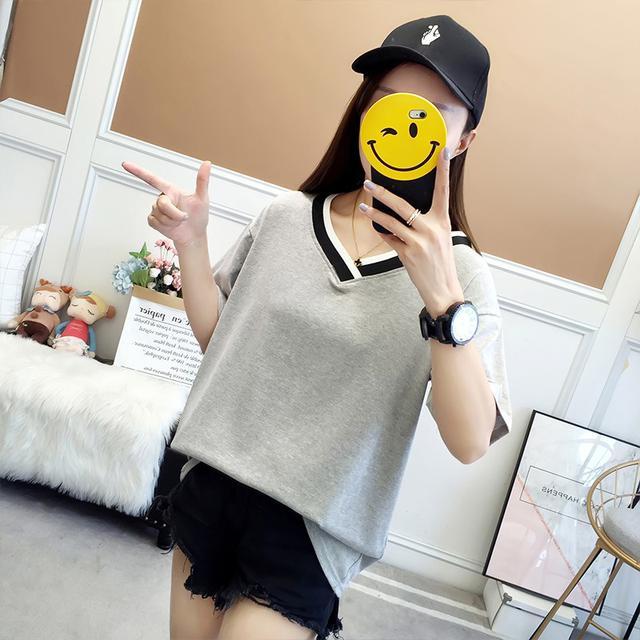 【預購】新款V領純色寬鬆短袖T恤