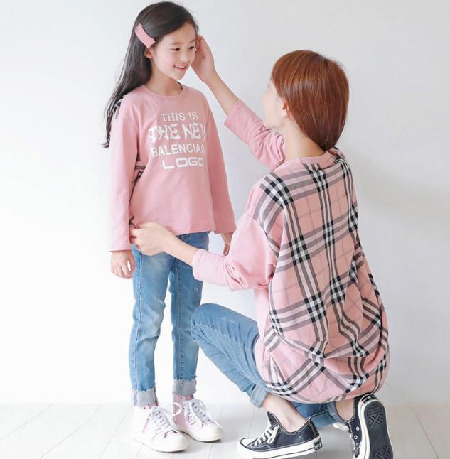 12/4 7-19大童裝拼接格子T恤 親子裝