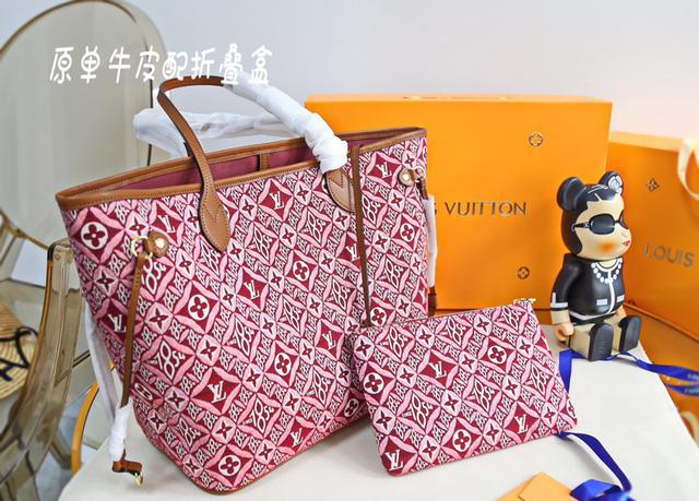牛皮 配折疊禮盒 專櫃新色 Lv[玫瑰]Neverfull 中號購物袋