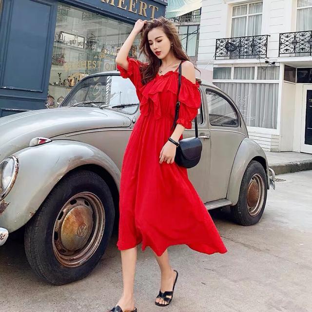大码女胖mm减龄夏季吊带一字肩时髦显瘦雪纺连衣裙网红度假沙滩裙