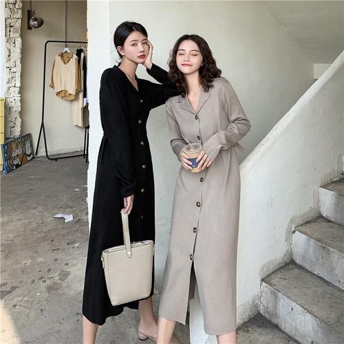 B 12/11 V領收腰襯衣款開叉針織連衣裙 (2色