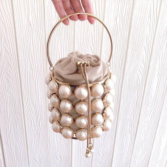 歐美金屬珍珠水桶包