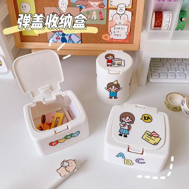 ✨ins簡約桌面彈蓋收納盒✨