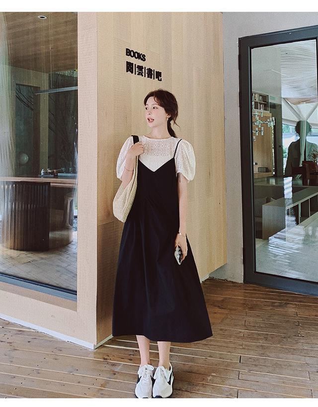 法式復古黑色吊带裙女夏蕾丝雪纺衫兩件套2021新款連衣裙套裝(百)