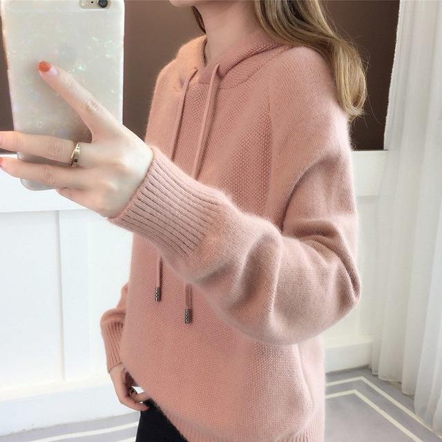 韓國連帽純色寬鬆針織毛衣衫(預購)