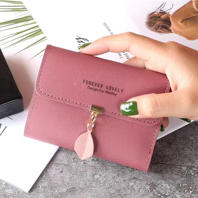 2020新款小錢包女短款學生韓版時尚小清新葉子三折搭扣零錢包卡包