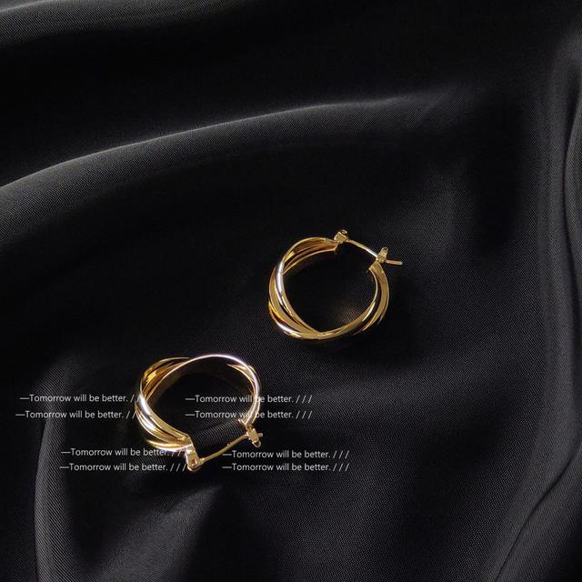 幾何圓形交叉金屬感耳環女歐美氣質冷淡風時尚個性耳飾