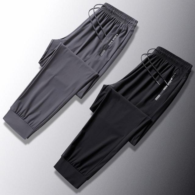 夏季薄款彈力透氣速乾  高檔冰絲運動褲束口長褲