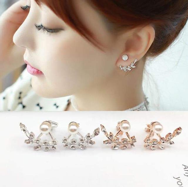韓國鑲鑽葉子珍珠『夾式』耳環