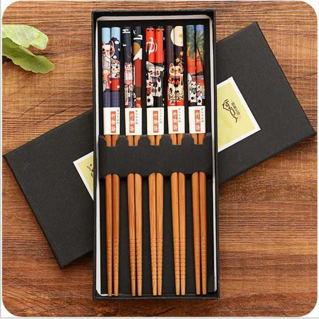 (1盒=5雙)招財貓圖樣筷子