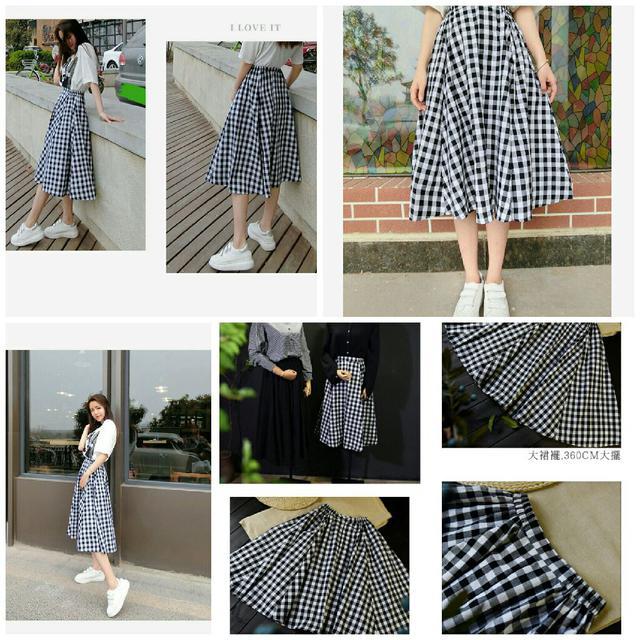 預購 NK96012格紋傘狀長裙
