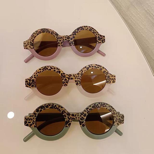 新款豹紋拚色兒童太陽眼鏡寶寶個性墨鏡