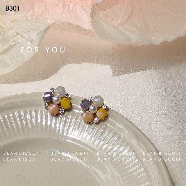「夏日海鹽」超甜玻璃耳環方塊珍珠925銀針耳釘法式茶系爛漫耳飾