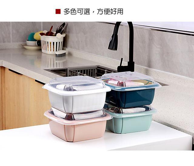 """""""洗+瀝+保鮮一籃get""""多功能方形雙層瀝水籃/冰箱保鮮盒~帶透明蓋 廚房洗菜保鮮收納"""