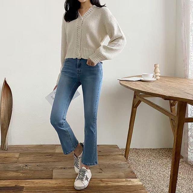 韓國vanilla彈性小喇叭牛仔褲