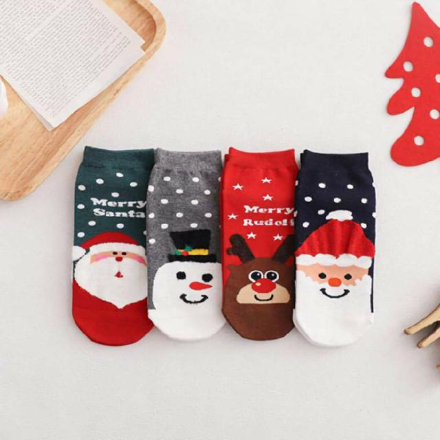 (預購s+) 聖誕卡通可愛女襪(一組4雙)
