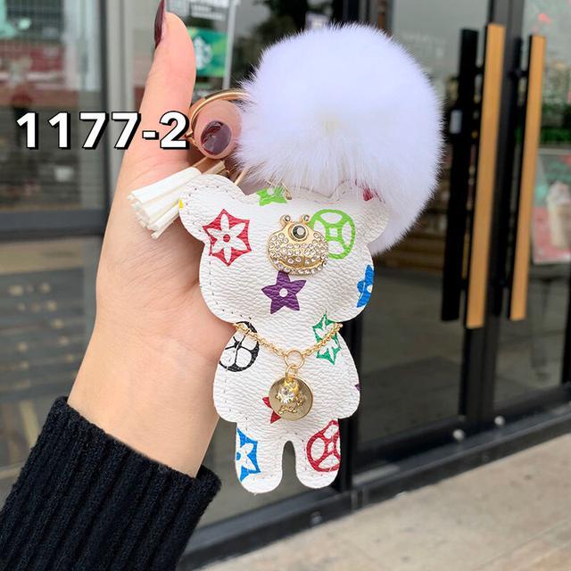 高檔歐美潮流鑰匙扣女創意皮質小熊汽車鑰匙鏈掛件男女情侶包掛飾