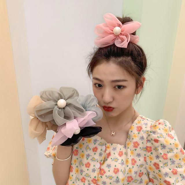 (預購)大花髮圈髮夹韓國氣質纱花大腸髮圈,髮夾(彤)
