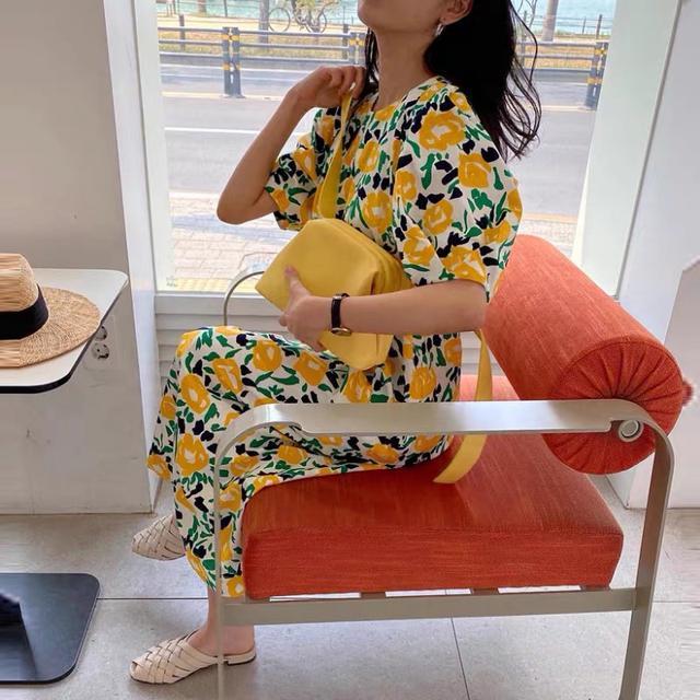 A002 小黃花撞色寬袖洋裝(一色)