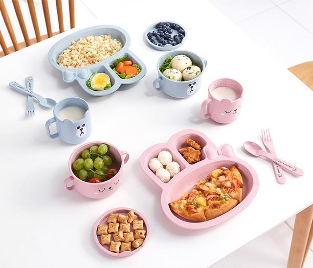 <預購>優惠-創意小麥兒童分格餐盤套組