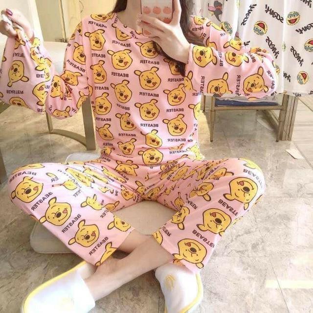 可愛卡通長袖圓領睡衣三件套(衣服+褲子+收納袋)