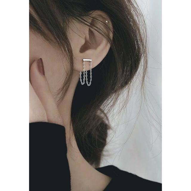 🌟現貨🌟正韓冷淡風幾何鏈條耳環 925銀 一體式