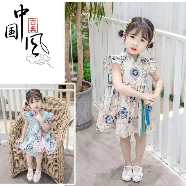 女童旗袍夏季2021新款洋氣兒童連衣裙夏裝中國風裙子小女孩漢服裙