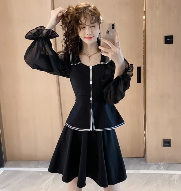 11 S-2XL 韓版 珍珠雪紡燈籠袖上衣+半裙 兩件套