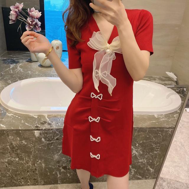 法式高品質蝴蝶針織連衣裙