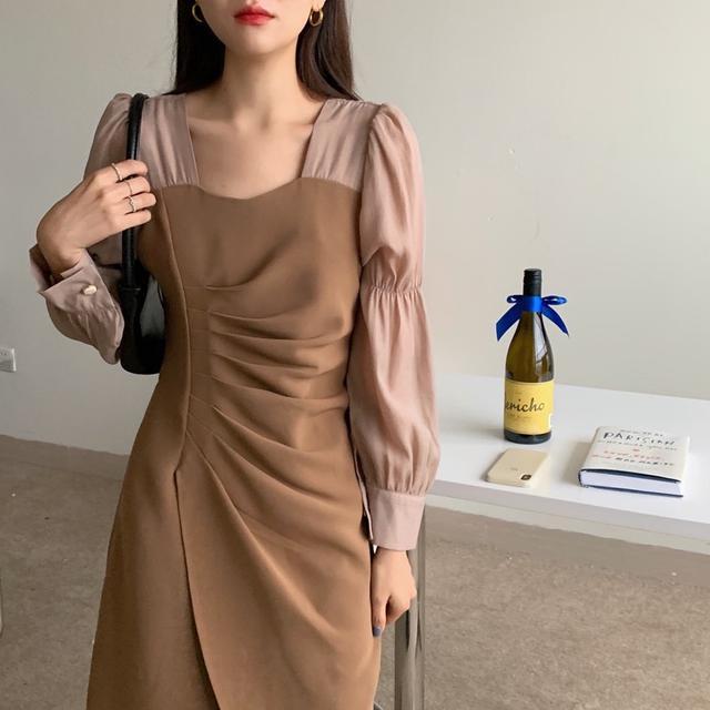 🌈春季新款復古法式方領泡泡袖拼接設計收腰顯瘦連身洋裝