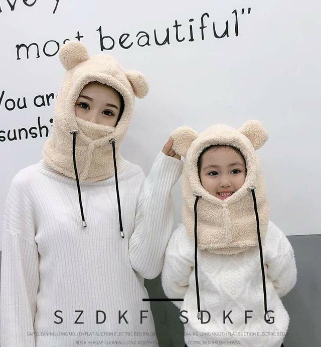 (預購S) H118 - 三合一小熊保暖口罩+帽子+圍巾組合