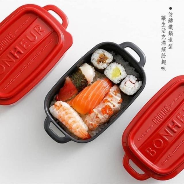 #預購D2498-日本製仿鑄鐵鍋餐盒單個(RO