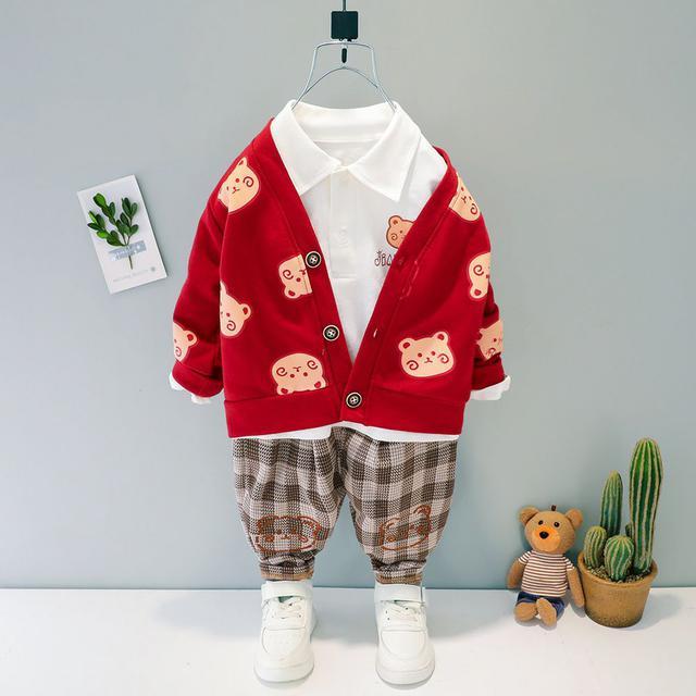 春秋款2021長袖童裝3男童新款時髦套裝4歲網紅洋氣兒童三件套代發-2344