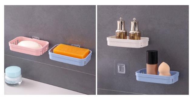 【預購】(特價中)免打孔壁掛瀝水肥皂盒架