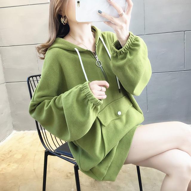 10 X-2XL 棉質寬鬆大碼長袖衛衣女 兩色