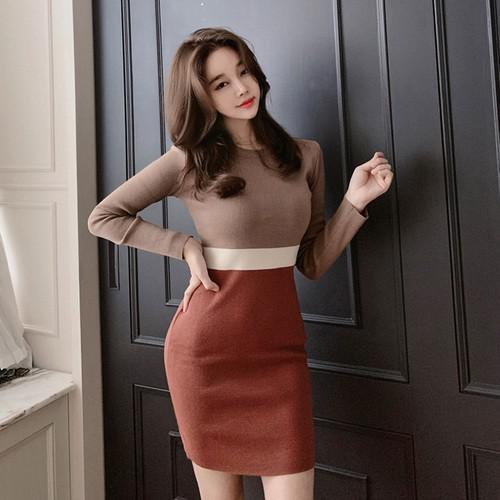 11 修身拼色針織包臀連衣裙
