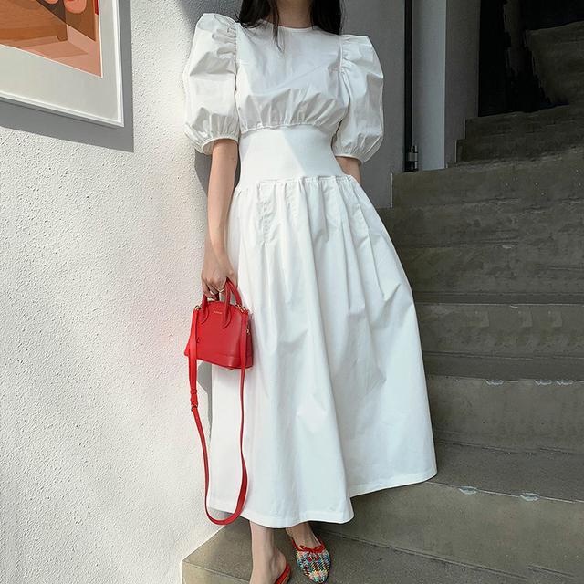韓國法式優雅圆领寬鬆皺褶高腰大擺型泡泡袖連衣裙長裙(c)