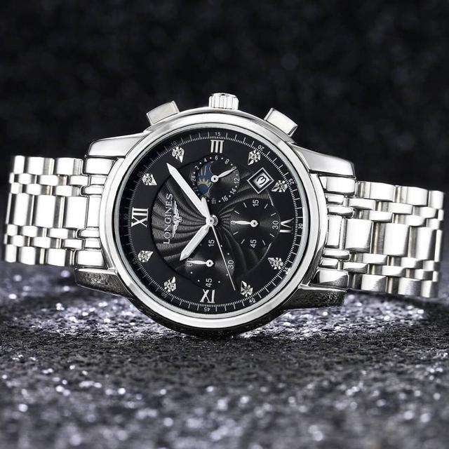 浪琴獨家新款 多功能六針跑秒計時功能日本進口石英機芯,316L精鋼實心鋼帶手錶