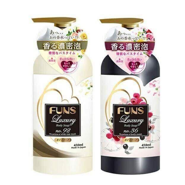 日本Funs Luxury香水保濕沐浴乳450ml ㄧ箱12入價